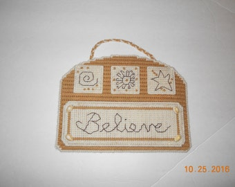 Believe Wallhanging-Plastic canvas, Believe