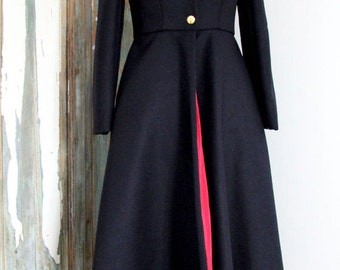 Knee length wool coat, Mililtary inspired coat, Flared Peacoat, women coat, midi coat, black coat, navy coat,