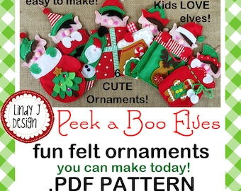 Peek a Boo ELF Felt ORNAMENTS .PDF Pattern
