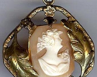 Antique VICTORIAN REVIVAL fancy gold fill cameo PENDANT