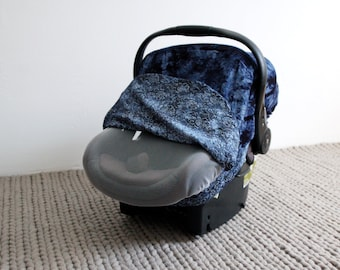 Car Seat Cover - INDIGO - Stretchy Car Seat Cover - Infant Baby Carrier Cover - Carseat Cover