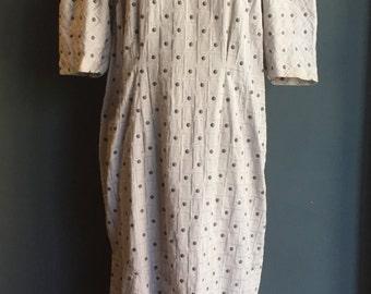 Vintage 60s Square Polka dot embroidery Maternity Pregnancy Maxi Dress XL XXL plus size Grey