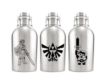 Legend of Zelda Growler 64oz- Stainless Steel Growler- Zelda Fan Gift- Triforce Gift- Link Gift
