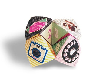 Digital retro girly cootie catcher / fortune teller / game / DIY toy / downloadable / printable/ dog, rose, telephone, camera