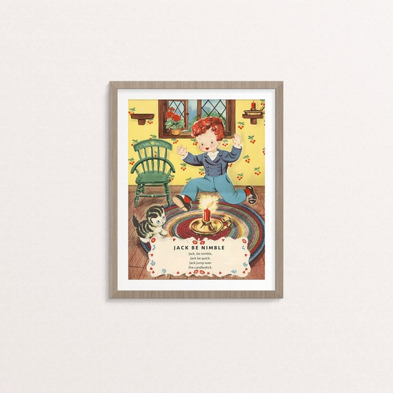 digital jack be nimble nursery rhyme poster 8 by 10 downloadable printable vintage boy. Black Bedroom Furniture Sets. Home Design Ideas