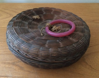 Small Vintage Basket with Lid