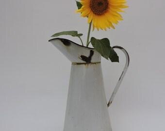 Vintage Enamelware Water Pitcher - French Enamel Jug - Shabby Chic Country Kitchenalia - Graniteware Kitchen Pitcher