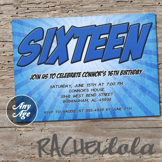 Age Blue Birthday Party Invitation, Sweet Sixteen For Boys