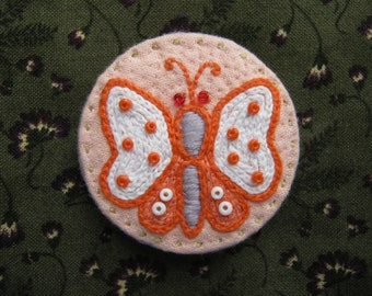 Orange Butterfly Embroidered Brooch / Pin Badge