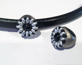 Licorice Leather Flower Slider, Black, Silver on Antique Silver Slider