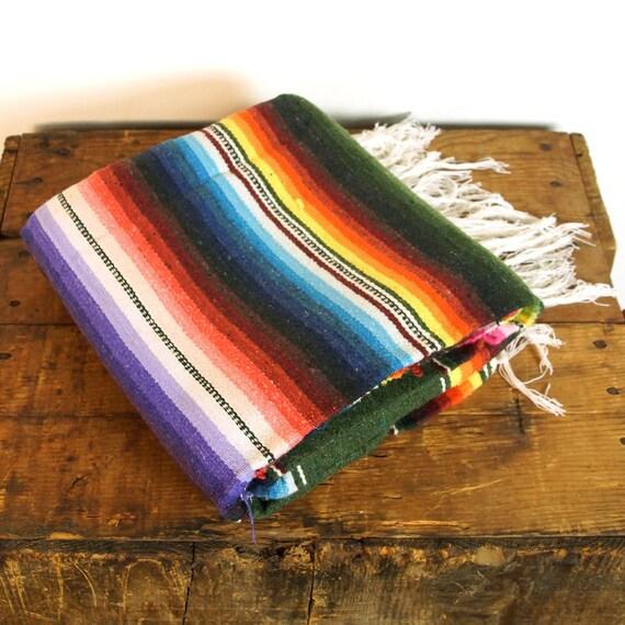 Mexican Rug History: Vintage Mexican Saltillo / 1970s Serape Blanket / Ethnic Boho
