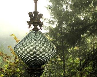 Vintage Cherub and Glass Table Lamp - Smokey Grey Glass Table Lamp - Grey Glass and Angel Lamps