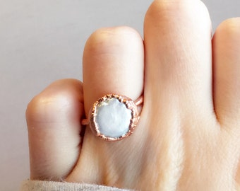Raw Pearl Copper Ring | Raw Stone Ring | Electroformed Ring | Mother of Pearl Ring | June Birthstone Ring | Copper Ring | Gift for Her