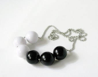 Black and White Geometric Necklace