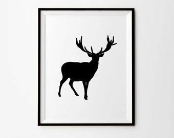 Deer wall art, 5 x 7 in, 8 x 10 in, 11 x 14 in, Black & White art print, Deer print, Deer art, Deer poster, Animal print, Printable art