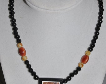 Necklace Pendant Onyx Frame Agate Red Orange Yellow Glass Bead #406