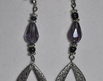 Silver Earrings Purple Dangle #E3b
