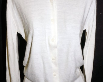 1960s Womens White Nylon Cardigan Sweater Sz 38 Vintage Retro