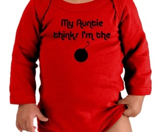 My Auntie Thinks I'm The Bomb - Funny Long Sleeve Baby Bodysuit - Great New Baby Gift from Aunt or Auntie - Choice of Colors (CONA99BLK)