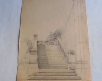 antique original drawing, detail of the Greek parliament on Syntagma square, Athens, Greece