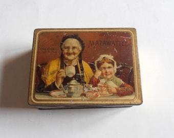 antique Mazawattee tea lithograph tin box, old folks at home