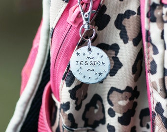 Back To School Personalized Zipper Pull, Custom Backpack Tag, ID Tag, Lunchbox Zipper Pull, Custom Tag, Lunch Bag Tag