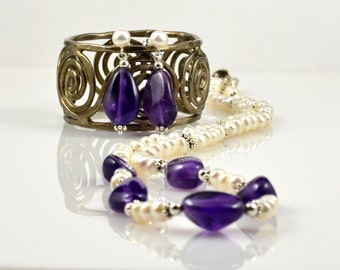 Amethyst, Pearl, and .925 Sterling Silver Necklace and Earrings Set