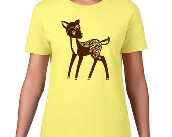 Cute Deer TShirt, Whimsical Deer T Shirt, Deer Tee, Cute Animal Tshirt, Forest Animal T Shirt, Woodland Critter, Ringspun Cotton