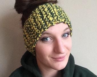 Crochet Headband, Green and Yellow, Charity Donation