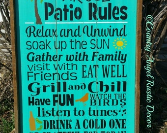 "Patio Rules Personalized, Rustic Patio wood sign 16""x24""  Outdoor Sign, Patio sign, Custom Sign, Beach Sign, Lake Sign, Patio Decor"