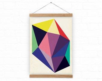 Colorful Abstract  print - A3, A3+ size - giclee print - Diamond - wall art - geometric art
