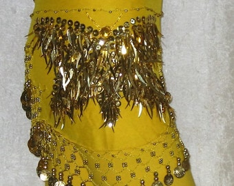 Belly dance hip scarf, Belly dancing belt,  Yellow hip scarf,Gypsy hip scarf,Yellow belly dancing hip scarf, Belly dance belt, Sequin belt