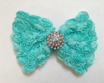 Mint Rosette Chiffon Hair Bow, Flower Girl Hair Bow, Brides Maid Hair Bow, Rosette Hair Bows, Fancy Girl BoutiqueNYC Designs