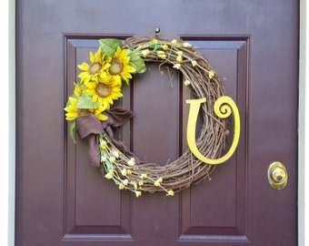 Monogram Door Hanging Wreath