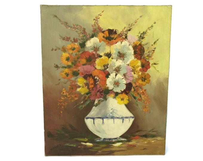 Floral Still Life Painting. Flowers in Vase Oil Painting. Vintage French Art.