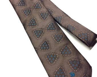 Vintage Christian Dior  Monsieur Abstract Brown/Turquoise Necktie Embroidered Signature