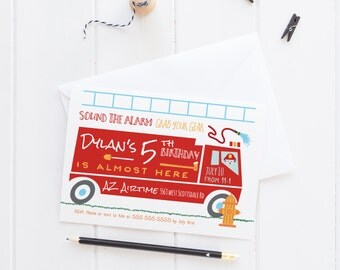 Firetruck Birthday Party Invitation - Boy Birthday Party Ideas - Trucks Party - Firefighter Printed or Printable Invites