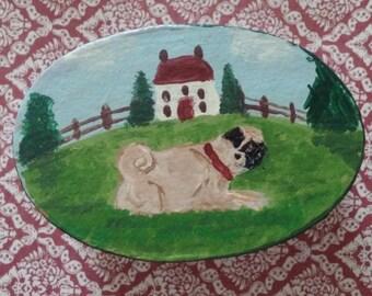 Hand painted PUG Folk art style Trinket box