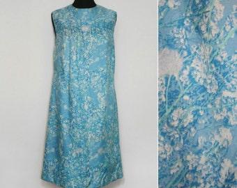 Sky Blue Floral Print Yoke Dress