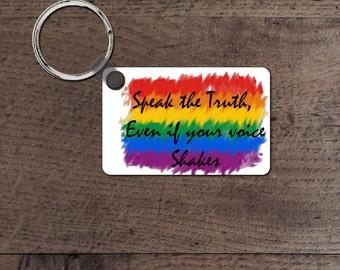 speak the truth key chain