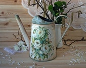 Vintage style watering can, White Roses, floral gift, Flower vase, Garden galvanized watering can, Metal watering can