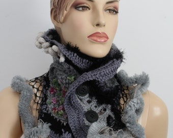 Chunky Crochet Scarf  for Women for Girl, Freeform crochet  Scarf , Cowl , Neck Warmer - Shades of Gray Black, Winter Accessories