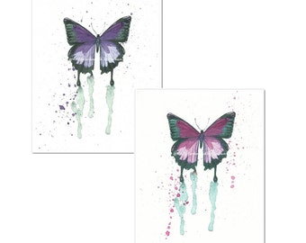 Watercolor Butterfly Art Prints Set of 2, Purple, Pink, Modern Insect Art, Nursery Art, Gift for Her,  Girls Room Art, Cottage Chic Decor