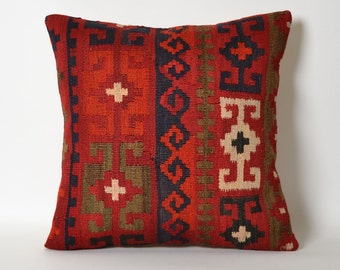 Red Kilim Pillow Cover - Antique Turkish Pillows Kilim Bohemian Pillow Case Red White Kilim Pillow Tribal Pillow Couch Throw Pillows