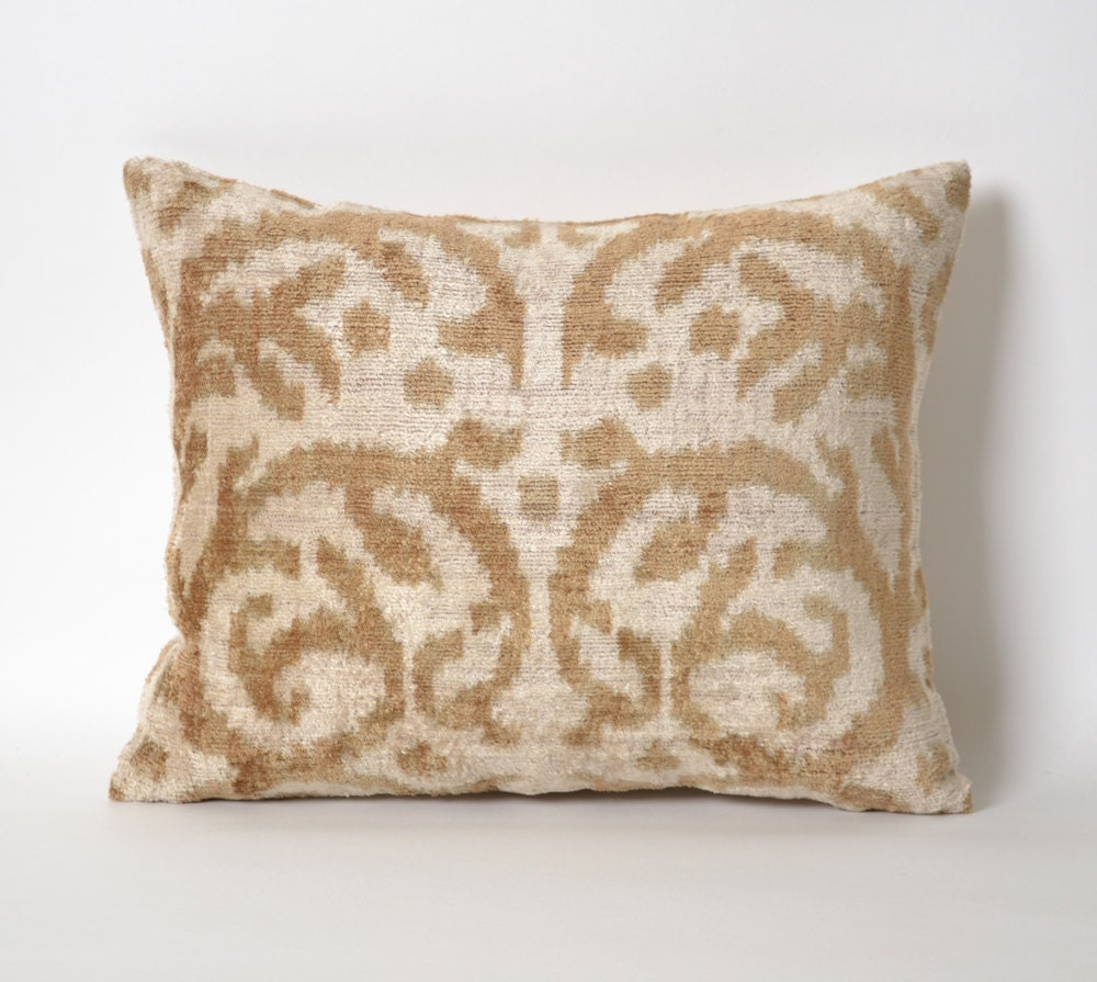 Throw Pillows Velvet : Throw Pillows Tribal 12x15 Brown velvet ikat pillow cover Gift