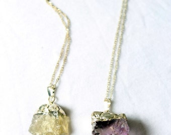Bouncers in rough natural stones: Citrine amethyst and aventurine