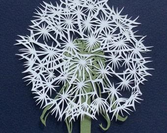 Original Dandelion flower papercut art, dandelion wall art