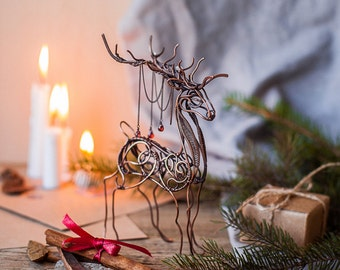 Deer copper art figurine - Metal sculpture - Wire wrapped sculpture - Table Ornament - Gift for him - Christmas gift