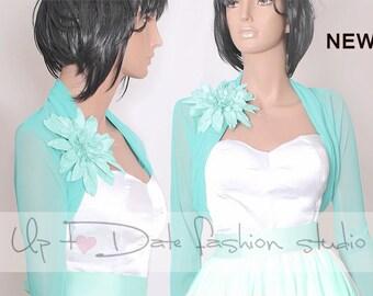Bridal tulle jacket / long sleeves mint / wedding bolero/cover up