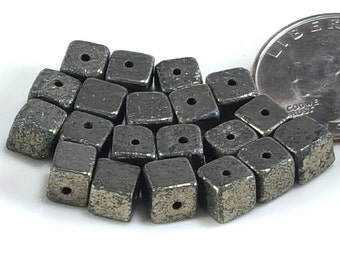 6mm Pyrite Cube Beads - Lot size 20